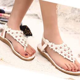 Bohemia Beaded flat online shopping - Women s Fashion Sweet Summer Bohemia Sweet Beaded Sandals Clip Toe Sandals Beach Shoes Herringbone Shoes