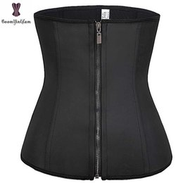 $enCountryForm.capitalKeyWord NZ - Latex Waist Trainer Women Loss Weight Bustier Plus Size Underbust Front Zipper And Hook Closure Black Waist Cincher Corselet