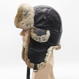 Fur Hats Men Australia - rabbit Fur Fluffy Men Bomber Trapper Hats Thick Winter Warm Rabbit Fur Hat Rex Snow Caps Ear Flap Caps ushanka Riding Cycling