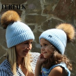 $enCountryForm.capitalKeyWord Australia - FURTALK Winter Hat for Women Rabbit Fur Wool Beanie Hats Raccoon Fur pompom Kids Warm Knit Hat Ladies Winter Skullies for