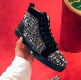 $enCountryForm.capitalKeyWord Australia - 19W Luxurious Loubitag Basket Max Casual Flat Strass Rhinestones Mixed High-top Men Women Red Bottom Sneakers Shoes -- Party Wedding