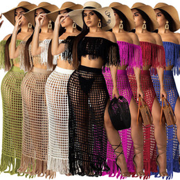 skirted bikini sets Canada - Summer Off Shoulder Sleeveless Hand Crochet Fringe Tassels Short Top Long Split Skirt Beach Party Two Piece Dress Bikini Cover Up Sets