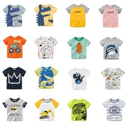 Shirts Designs For Girls Summer Australia - Free DHL Designing Boys Tees Summer Infant Cotton Girls Tee Cartton Car Dinosaur Monkey Shark STOP AWESOME Letters T-shirts Suits For 1-10T