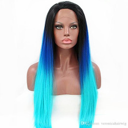 $enCountryForm.capitalKeyWord Australia - Free Shipping Glueless Long Straight Blue Ombre Synthetic Lace Front Wig Dark Roots Blue To Green Heat Resistant Cosplay Sexy Wigs For Women
