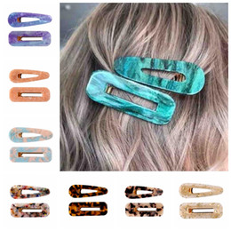 $enCountryForm.capitalKeyWord Australia - Hollow Geometric Waterdrop Acrylic BB Hair Clip Hairpins Fashion Women Shiny Tin Foil Sequins Girls Barrettes Gift package 50pair FJ902
