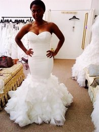 $enCountryForm.capitalKeyWord Australia - 2020 Sexy African Sweetheart Tulle Wedding Dresses Mermaid Slim Ruffles Tiered Bridal Gowns Zipper Back Vestidos De Marriage Plus Size
