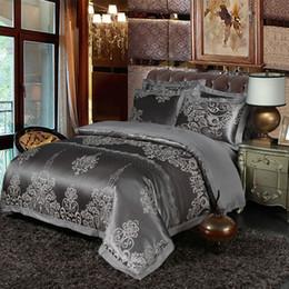 Queen Size Grey Bedding NZ - Grey Silk Satin Bedding set Queen King size Bed set Cotton Bed sheet Fitted sheet set Duvet cover linge de lit ropa de cama