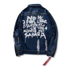 $enCountryForm.capitalKeyWord UK - Fashion Designer 2019 Mens Blue Black Denim Jackets Slim Fit Ripped Streetwear Motorcycle Zipper Biker Jeans Jacket Coat SG22