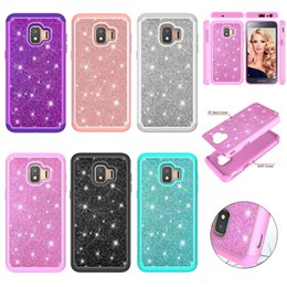 glitter case silicone NZ - 2-in-1 Glitter Phone Case for Samsung Galaxy J2 Core 2018 Cover Cases Robot Armor Case for Samsung J2 Core 2018 Shockproof Silicone Shell