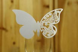 Опт Вино стекла карты Свадьба украшения Вино стекла Маркеры Свадебный торт Toppers лазерный Cut бабочки имя карты