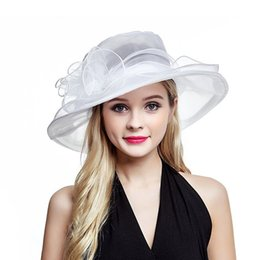 white organza hats UK - Lawliet White Summer Hats for Women Ladies Organza Wide Brim Sun Hat Kentucky Derby Wedding Church Party Floral Hat Cap A002 T200602