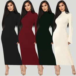 Amazon hot sale autumn dress high elastic crater strap micro-horn  long-sleeved 4-color dress cfb833dae095