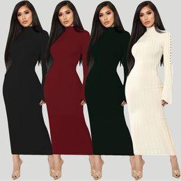 Ingrosso Amazzone vestito autunno caldo vendita alta elastico cratere strap micro-corno a maniche lunghe abito a 4 colori