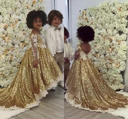 Discount same day custom t shirts Gold Sequins Flower Girls Dresses For Weddings White Appliques Illusion Long Sleeves Bling Asymmetric Girls Pageant Dres