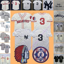 312a18fc230 Babe Ruth Jersey Yankees 1929 Cooperstown MN Boston Braves Cream White  Pinstripe Grey Black Home Away All Stitched Home Away Cool Base