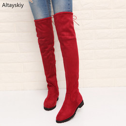 Womens Lace Up Knee Boots Australia - Boots Women Flock Plus Size Slim Long Boot Over The Knee Retro Womens Trendy Korean Lace Up Thigh High Shoes Chic Ladies Leisure