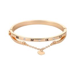 $enCountryForm.capitalKeyWord Australia - USENSET Brand new women 's love Roman bracelet digital tassel heart versatile bangle trend Christmas gift jewelry Q05