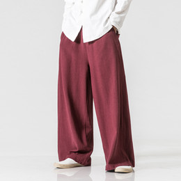 Discount suit chinese male - Chinese Tang suit linen casual pants men male Chinese style loose sports wide leg trousers Buddha men's zen pants 5