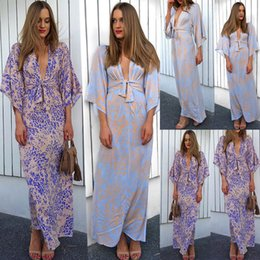 Dresses Apparel NZ - Women Summer Wrapped Chest Dress Lace-up Sexy Floral Printed Medium Sleeve V-Neck Dresses Fashion Clothing Casual Apparel
