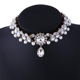 $enCountryForm.capitalKeyWord NZ - American new exaggerated diamond necklace short Necklace Celtic women party gold plate platinum white elegent peridot free shipping