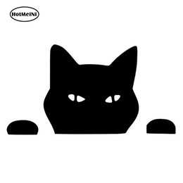 $enCountryForm.capitalKeyWord UK - wholesale 20pcs lot Pet CAT PEEPING Cat Fun Car Stickers And Decals Motorcycle Car Styling Black Silver 14*7.5CM