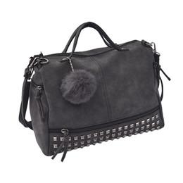 $enCountryForm.capitalKeyWord UK - Women Street Style PU Satchel Handbag Single Shoulder Bag with Pompon Rivet Trim 2017 fashion retro function