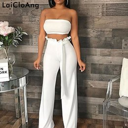 womens strapless rompers Australia - Laicloang Strapless Sexy Two Piece Set Jumpsuit Autumn Sashes Loose Rompers Womens Jumpsuit Backless Casual Bodysuit Women 2018 MX190726