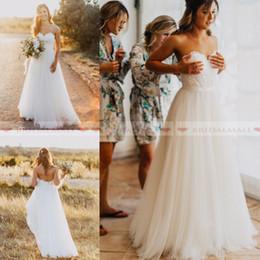Cheap wedding dresses Custom made online shopping - Simple Lace Appliques Tulle A Line Boho Wedding Dresses With Belt Zipper Back Beach Bridal Gowns Cheap Custom Made robe de mariee