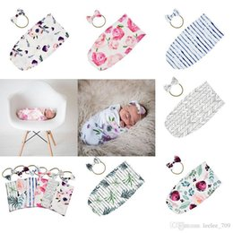 $enCountryForm.capitalKeyWord Australia - Newborn Infant Baby Swaddle Sleeping Bags Baby Muslin Blanket Headband Baby Soft Cotton Cocoon Sleep Sack Headband 2pcs Set 14710