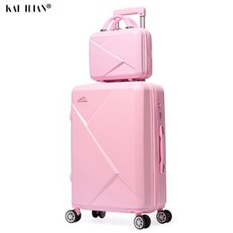 spinner pink Australia - Travel Suitcase set on wheels irl students trolley luggage spinner rolling luggage with Cosmetic bag Women suitcase 20 22 26''