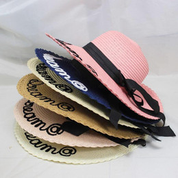 ladies sun hat visors Canada - Women Sun Hat Summer Beach Straw Hat Female Letter Embroidery Sombrero Sun Visor Wide Brim Hat Lady Foldable Chapeau Femme
