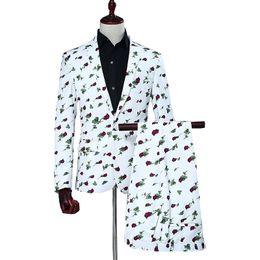 $enCountryForm.capitalKeyWord Australia - digital rose print suits Men 2019 Groom Long sleeve mens blazer with pant 2 pcs Wedding dress Suits Set Host Show Business Suit