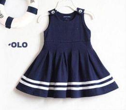 Polo Sleeveless Australia - Summer kids Clothes Brand Fashion Cute Baby Girls Dresses Sleeveless polo Dress O-Neck skirt Sundress free shipping