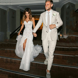 Men White Linen Casual Suits Australia - Latest Designs Men Suits for Wedding Suits Ivory Linen Man Blazer Groom Tuxedo Two Piece Casual Groomsmen Wear Prom Party(Coat+Pants)