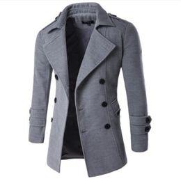 Mens Cotton Peacoat Australia - 2018 Autumn Winter Jacket Men Peacoat Mens Jackets And Coats Male Brand Clothing Chaqueta Hombre Wool & Blends Men Trench M-XXL