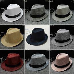 Straw braid hatS online shopping - Fashion Women Linen Straw Hats Soft Men Stingy Brim Fedora Panama Sunscreen Hats Outdoor Travel Beach Sun Hat TTA954