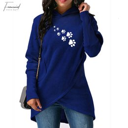 Black hoodie red liner online shopping - 2019 New Fashion Dropshipping Dog Paws Print Hoodies Women Sweatshirts Female Harajuku Casual Loose Cropped Autumn And Spring