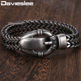 Charm Chain Belt Australia - Davieslee Fashion Mens Bracelet Stainless Steel Double Foxtail Link Belt Shaped Clasp Wristband 12mm Dhb497 Y19051101