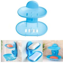 Discount dish stands - Kitchen Tools Bathroom Accessories Soap Holder Two Layer Suction Holder Soap Dish Storage Basket Soap Box Stand Mar Drop