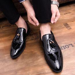 $enCountryForm.capitalKeyWord Australia - Men Patent Leather Dress Shoes Oxford Luxury Italian Style Pointed Toe Formal Wedding Casual Slip-on Leather Shoes