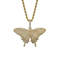 Wholesale 18K Gold Plated Necklace Jewelry Elegant Grade Quality Full Zircon Paved Pendant Necklaces Exquisite Unisex Butterfly Hip Hop Necklace LN092