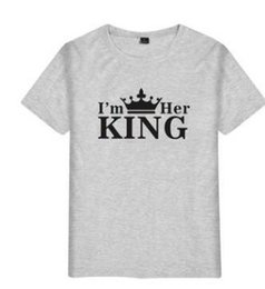 king queens shirts Australia - Mens Lovers T shirts Summer I AM HER KING I AM HIS QUEEN Tees Short Sleeved Tops