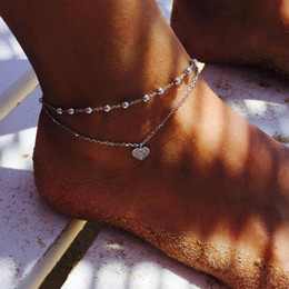 anklet Australia - 2018 New Bohemian Retro Peach Heart Star Pendant Crystal Silver Double Layer Anklets Fashion Jewelry Beach Accessories For Women