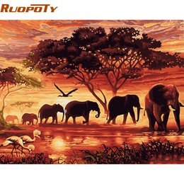 Digital Painting Diy Australia - diy digital RUOPOTY Elephants Landscape DIY Digital By Numbers Modern Wall Art Canvas Painting Unique Gift For Home Decor 40x50cm