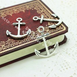 antique charms nautical 2019 - Sweet Bell Wholesale 120 PCS lot 24*31mm Antique Silver Vintage Metal Alloy Nautical Anchor Charms Jewelry Anchor Pendan