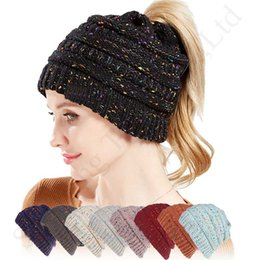 ClassiC CroChet hat online shopping - Women Designer Confetti Ponytail Hats Knitted Beanie Skull Cap Ladies Girls Autumn Winter Warm Crochet Hat High Messy Bun Beanies Hat C91807