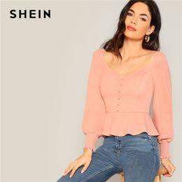 f32f0566a2 SHEIN Vintage Pink Button Detail Shirred Panel Peplum Top Sweetheart Neck  Bishop Sleeve Blouse Women Spring 2019 Elegant Blouses