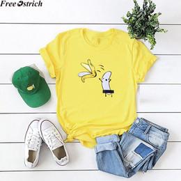 Wholesale banana t shirt online – design Women s Summer Loose T Shirt Short Sleeve Banana Cartoon Print Fashion O Neck Tops Plus Size Ladies Sports Running tshirt