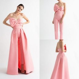 b5c91168adf3 Elegant 2019 Floor Length Prom Dress Women Jumpsuits Sweetheart Neckline Evening  Gowns Bow Overskirt Evening Dresses