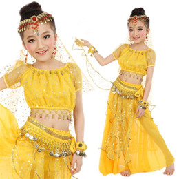 kids bollywood costumes NZ - 6colors New India Belly Dance Costume Stage Performance Kids Baby Girls Egypt Bollywood Sequins Gold Coin Belt Accessories Set